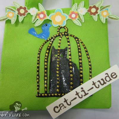 Painted Cat Bag using Cricut Meow, Tulip Fabric Paint, Viva Decor Pens & Vinyl + Cricut Imagine