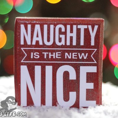 Naughty Nice Vinyl Wood Block