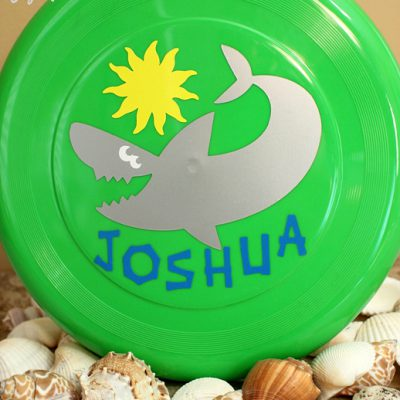 Fun Vinyl Decorated Shark Frisbee with Cricut