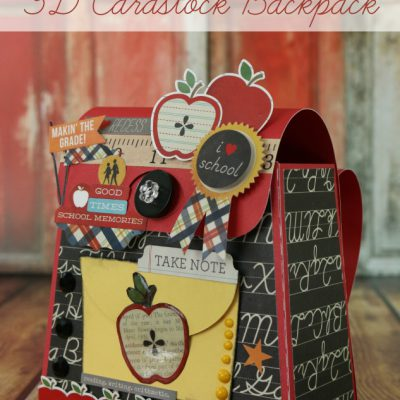 Back To School 3D Cardstock Backpack
