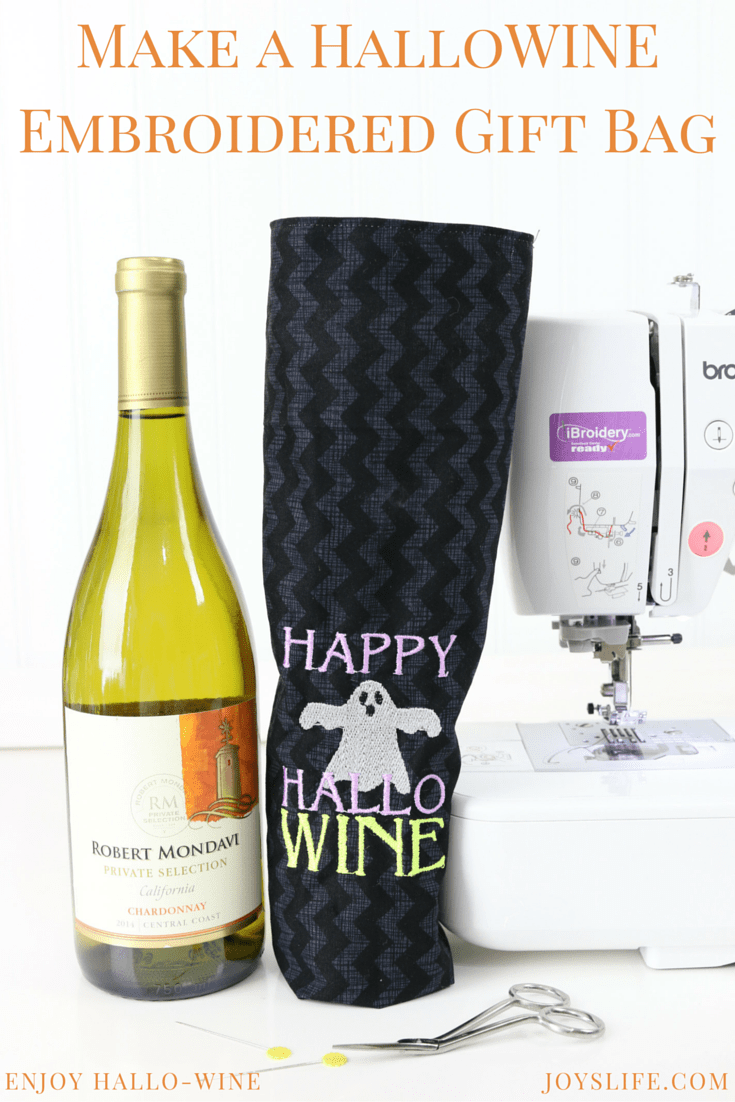 Create a Happy HalloWINE Embroidered Wine Bag #BeenBooed #ad #HalloWINE