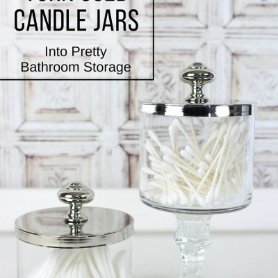 How to Turn Used Candle Jars into Pretty Bathroom Storage