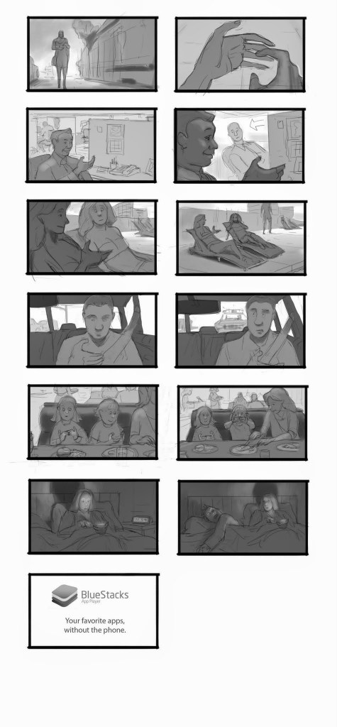 Blue Stacks Commercial Storyboard