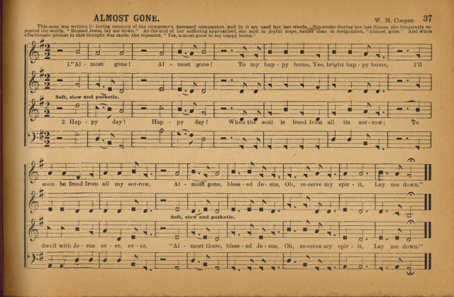 """""""Amost Gone,"""" page 37 of The Sacred Harp, """"Revised and Improved by W. M. Cooper,""""  1927."""