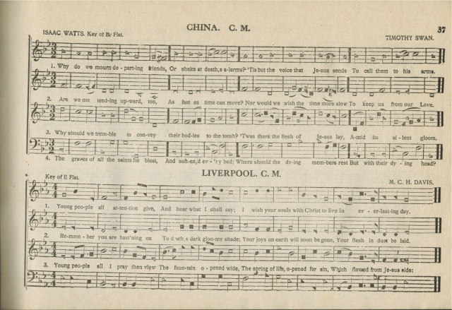 """""""China"""" and """"Liverpool,"""" page 37 in The Sacred Harp, """"Fourth Edition, with Supplement,"""" 1911."""