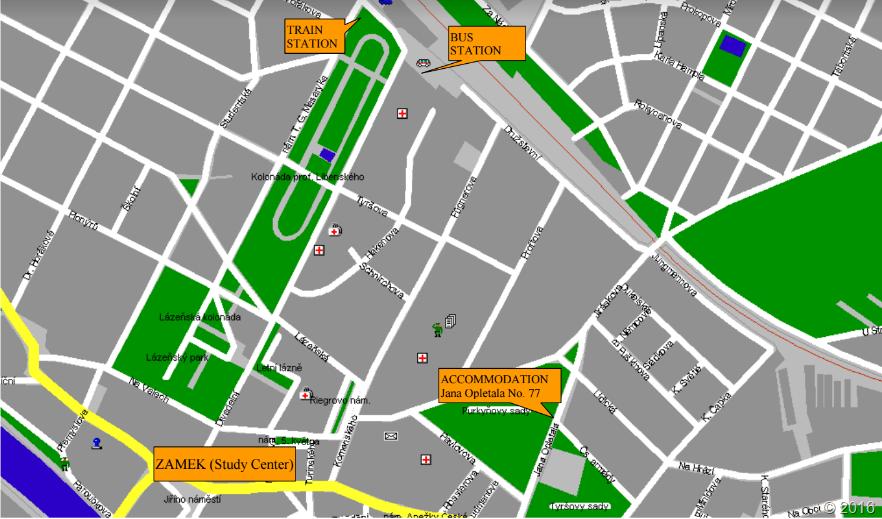 Карта Подебрад