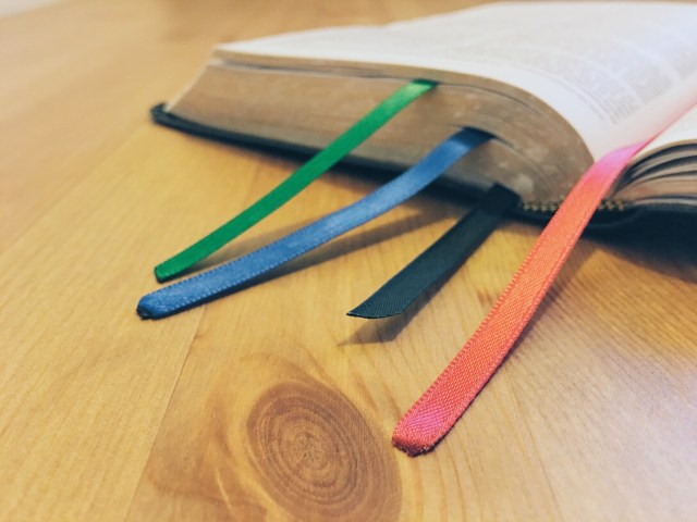 bible with ribbons