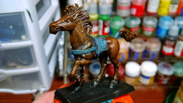 Riderless Horse Hand Painted Miniature. Click to Enlarge.