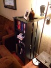 used as a bookshelf (left)