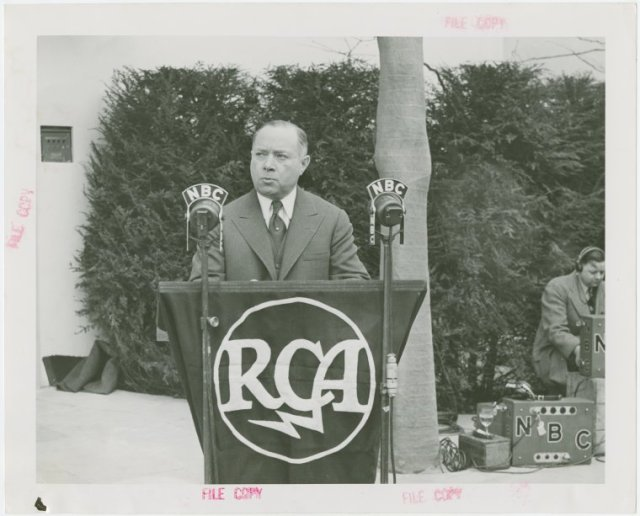 RCA President, David Sarnoff, at the RCA Pavilion, New York City World's Fair, 1939. (New York Public Library, Digital ID: 1681003.)