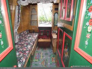Most of the boat was given over to cargo, covered by canvas. In the cabin at the rear, everything did double service, with fold down beds and tables. Some boats also had a small cabin at the bow.