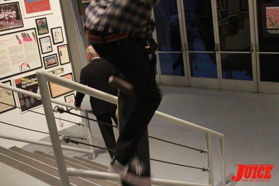 Omar Salazar Handrail session. Photo: Dan Levy