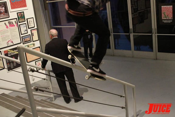 Handrails and high end art. Photo: Dan Levy