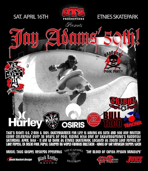 JAY ADAMS 50TH BIRTHDAY PARTY INVITE. Photo: Dan Levy
