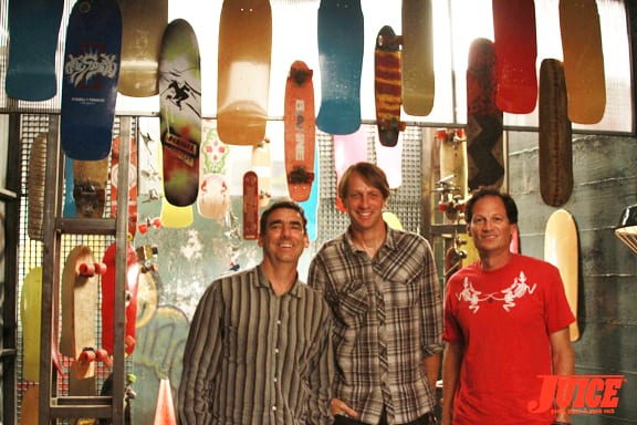 Lance Mountain, Tony Hawk and Mike McGill. Photo: Dan Levy