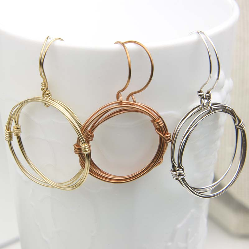 Gold, Copper, Silver dangle hoops
