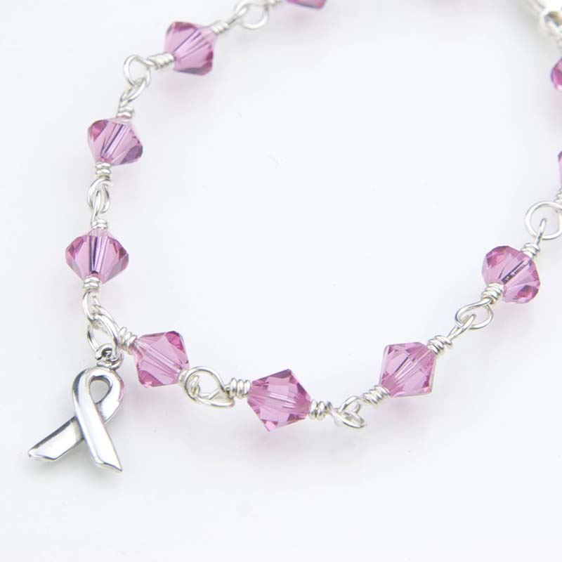 Pink crystal awareness bracelet