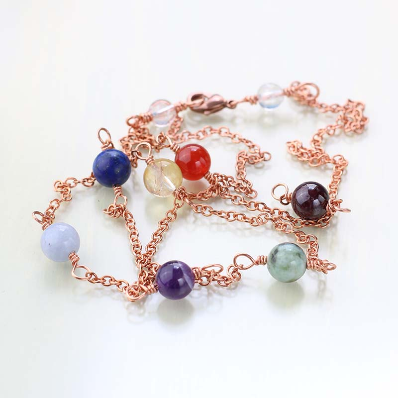 Long chakra necklace: copper and gemstones