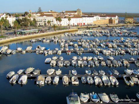 rows of boats at Faro marina, Portugal