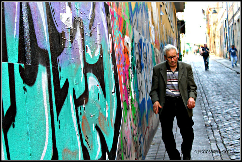 man with graffiti
