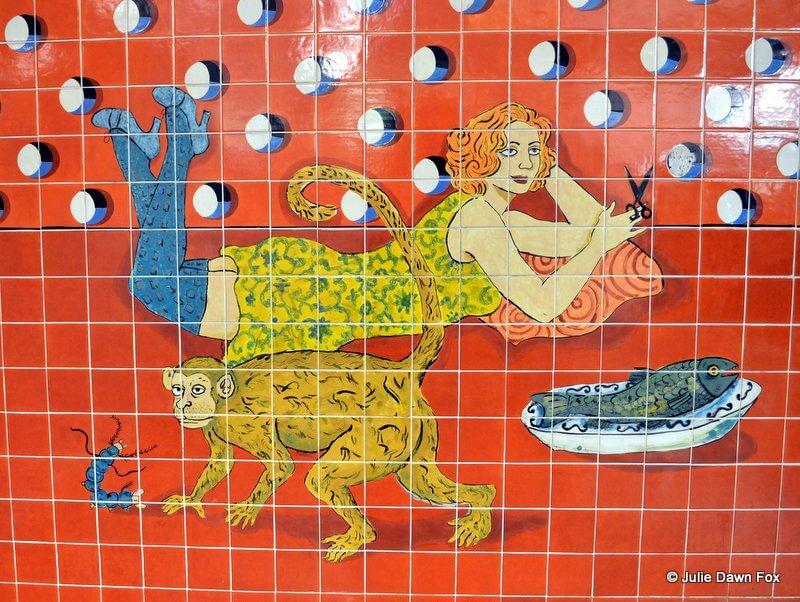 Modern azulejos at Alvalade metro station, Lisbon