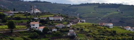 Village church, farmhouses and vineyards, Mesão Frio, Douro Valley
