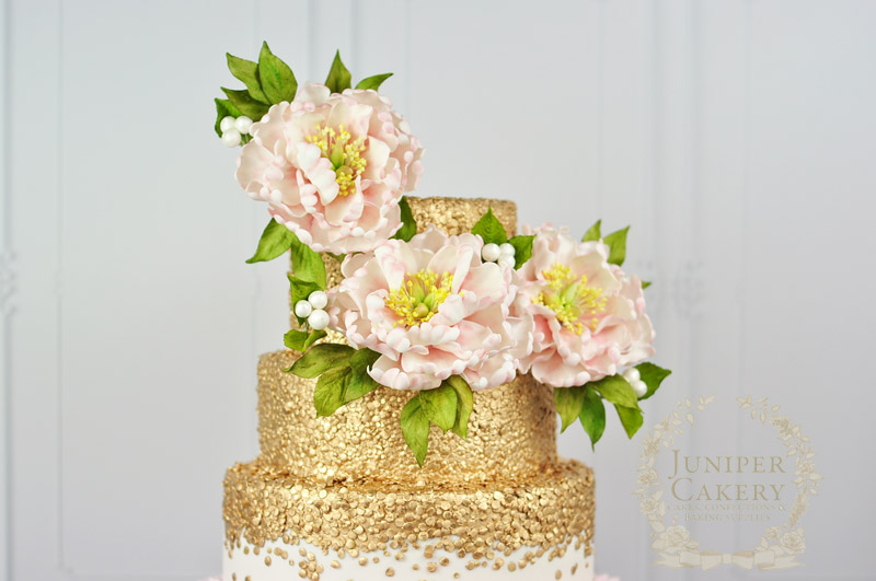 Gilded sequin wedding cake with sugar peonies by Juniper Cakery