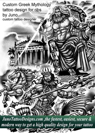 greek mythology tattoo - zeus tattoo - poseidon tattoo