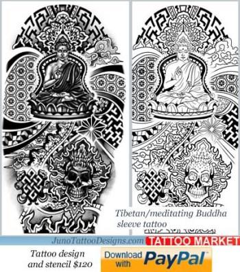 tibbetan tattoo template, buddha tattoo for arm,sleeve tattoo template