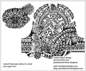 aztec polynesian tattoo - chest tattoo - samoan turtle tattoo