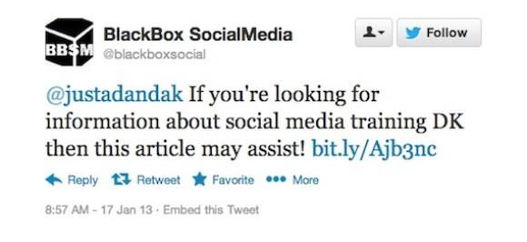 BlackBox SocialMedia automated tweet reply