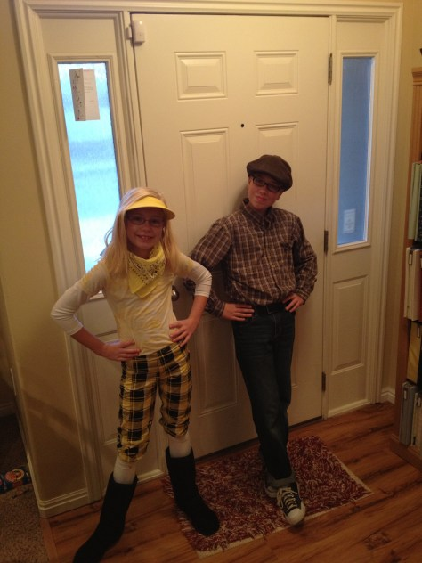 Kids dressed up for Oldies day at school