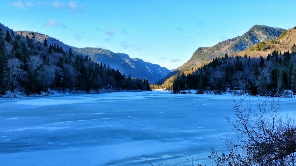 frozen river in Jacques Cartier National Park