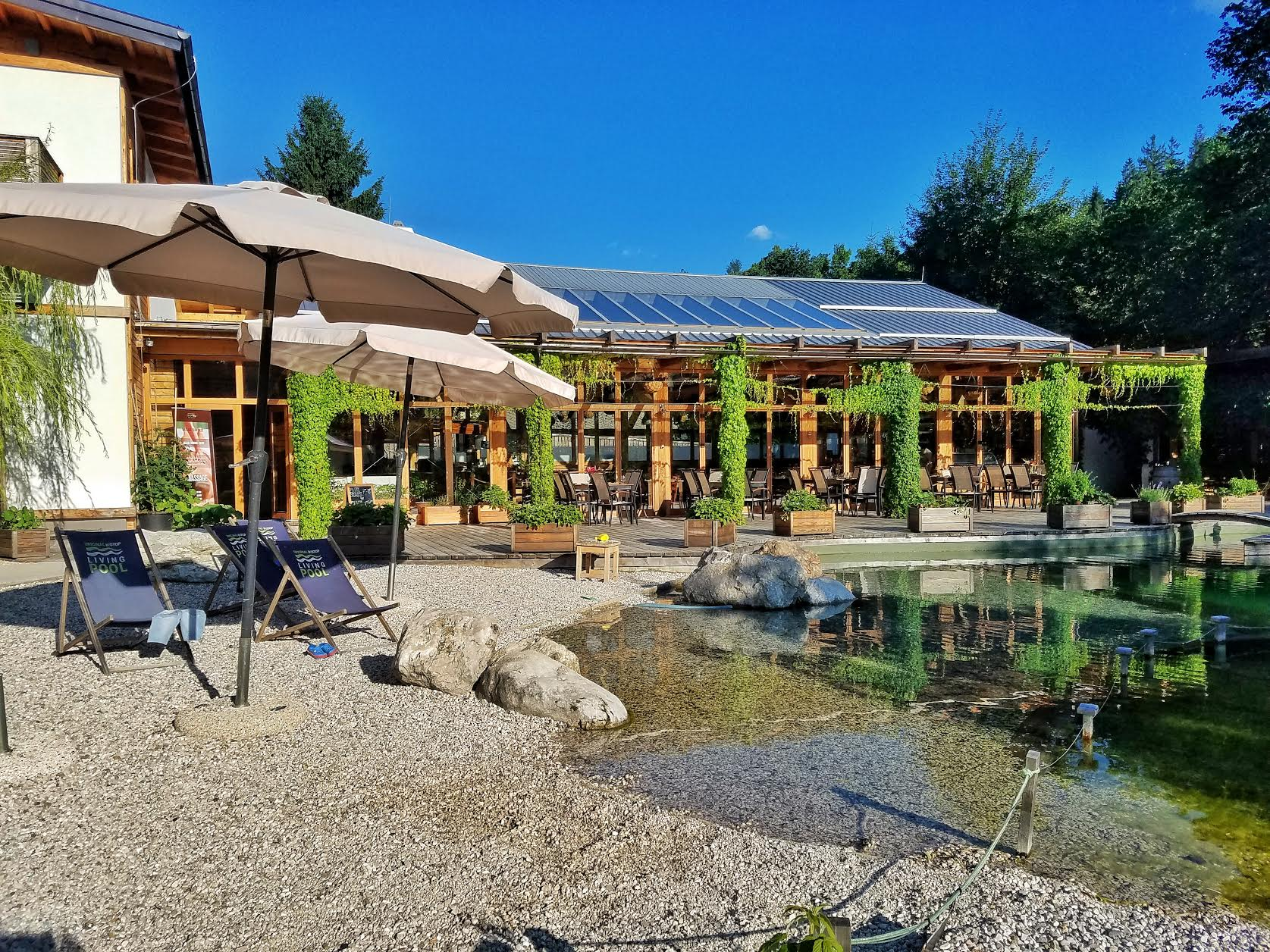 The living pool and on site restaurant