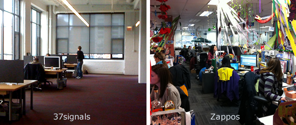 The 37signals office vs the Zappos office