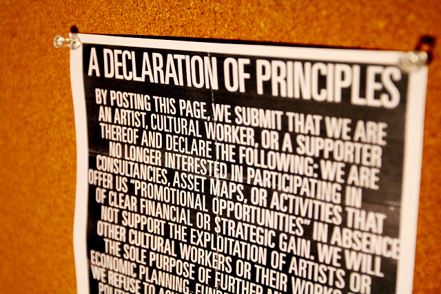 A Declaration of Principles (for artists, cultural workers, & supporters thereof)