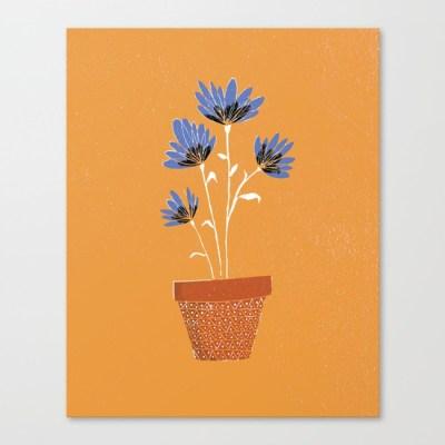 blue-flowers-on-orange-background443476-canvas