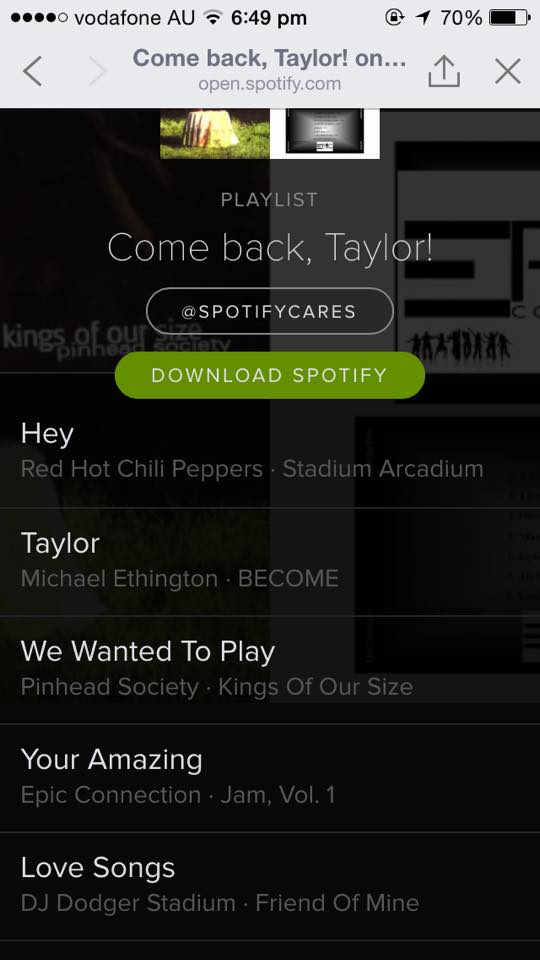 how to listen to taylor swift on spotify