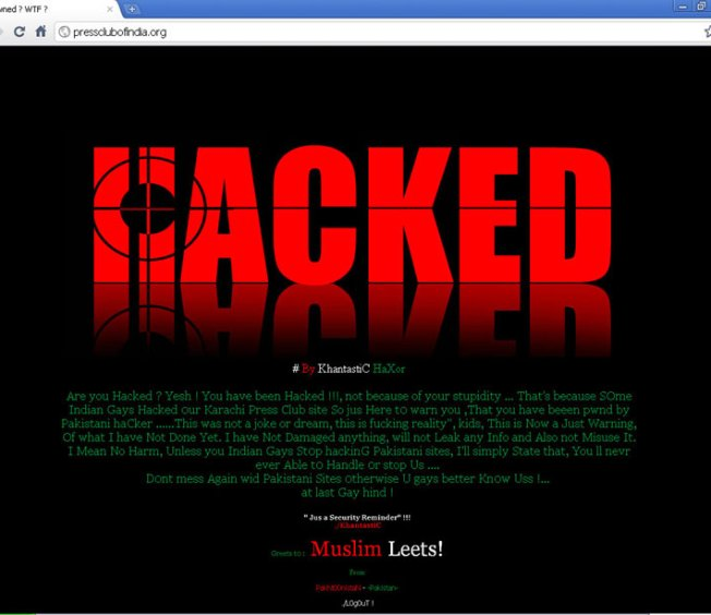 Indian Press Club web site hacked by Pakistani Hackers