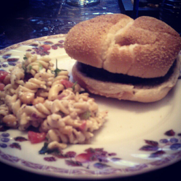 Burgers and Mediterranean salad for supper