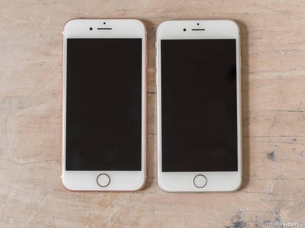 Apple iPhone 7 og iPhone 6 - gæt hvilken, der er den to år gamle model. Foto: Mobilsiden