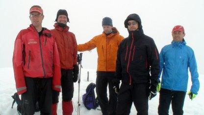 På toppen med Christian Eide, Bård Greve, Marius Tandberg, Eldar Lillevik og Michael Just Hansen.