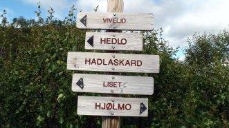 Vi skal til Hadlaskard via Hedlo og Vivelid.