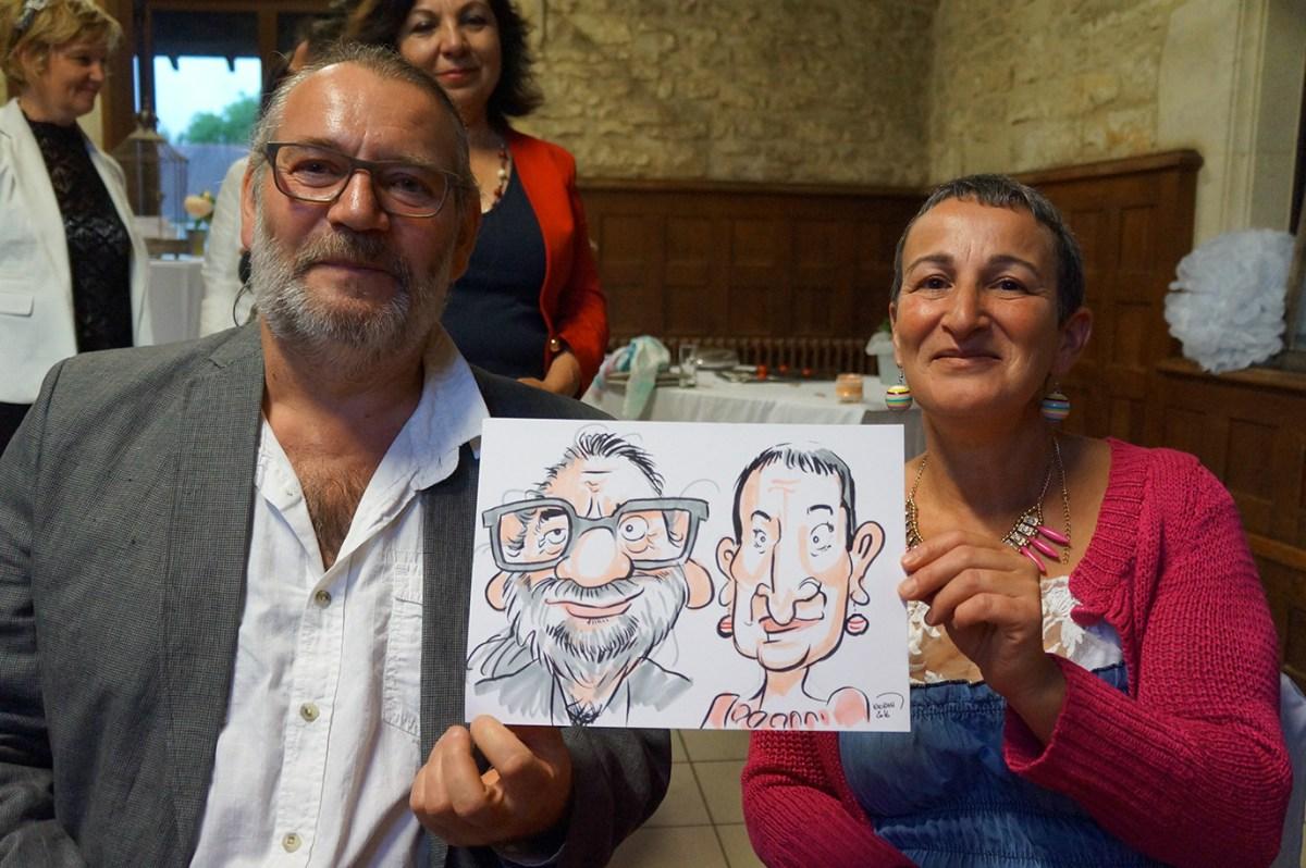 Mariage en caricatures au Chateau de Bernay-en-Champagne (72)