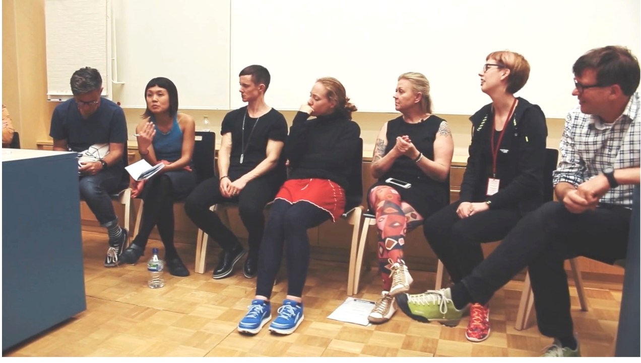 The Art of Endurance Seminar. To Kai's left is artist Cassils. Screen capture from video by Anti Festival's Kim Saarinen.