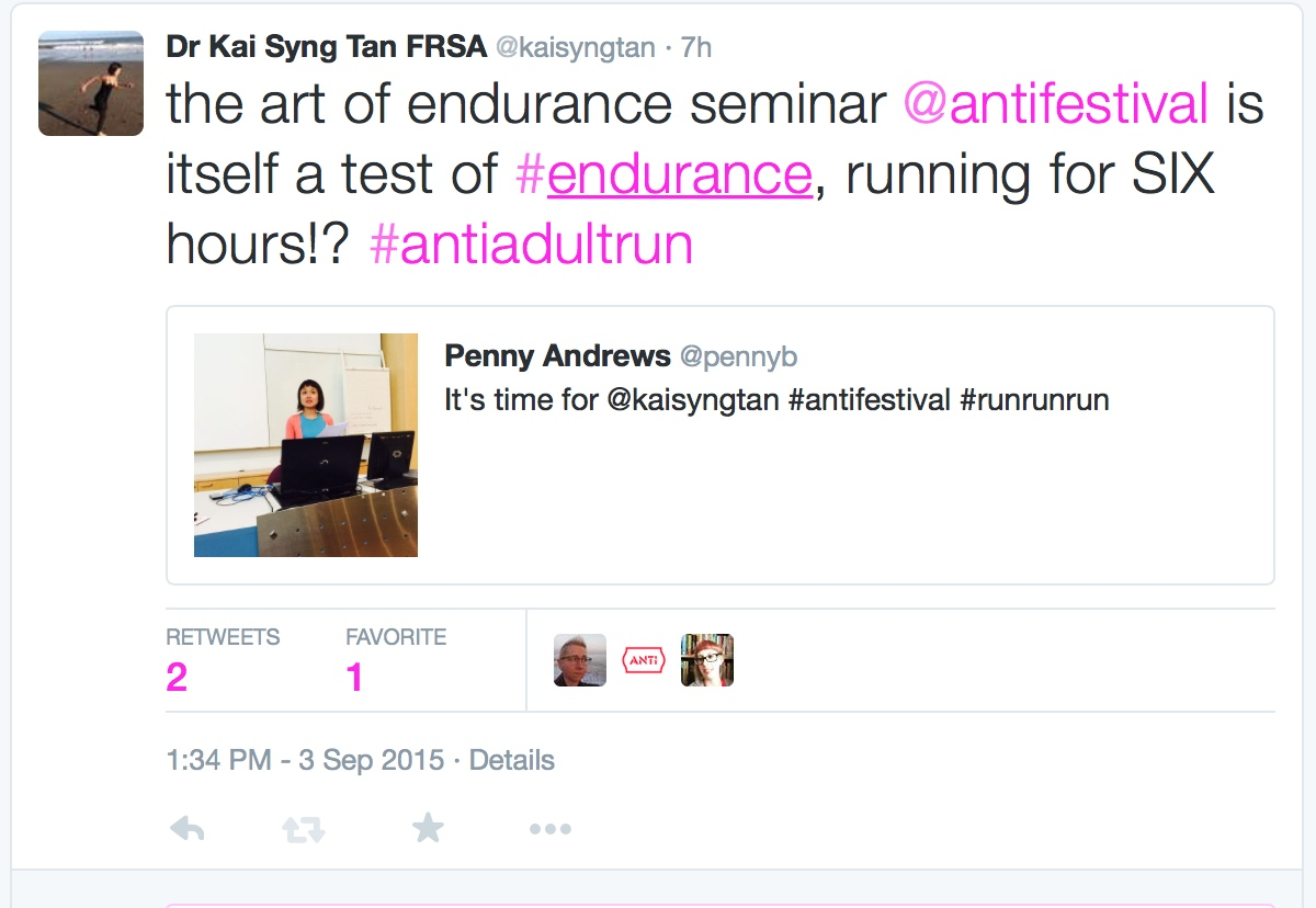 Tweet by Kai during and about (how to endure) the Art of Endurance Seminar.