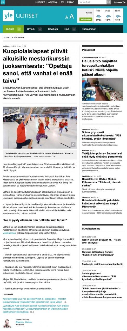 Coverage online and on radio in Finland. Yle Uutiset. 2015. Kuopiolaislapset Pitivät Aikuisille Mestarikurssin Juoksemisesta: 'Opettaja Sanoi, Että Vanhat Ei Enää Taivu.' 2015.(Research activity covered in press and radio in Finland).