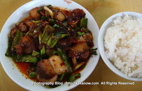 "China travel, Chongqing, the gourmet called ""Twice Cooked Pork"". Photo by KaKa."