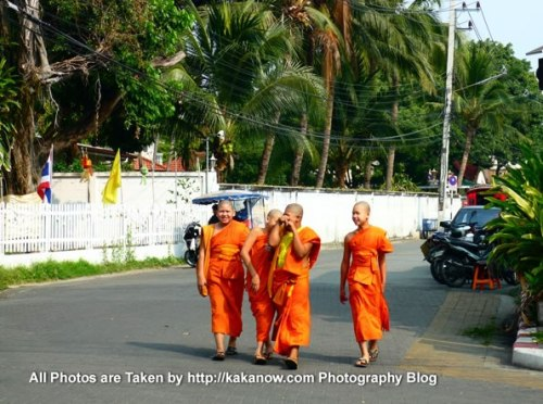 Thailand travel, Chiang Mai. Shy novices monks in the street. Photo by KaKa.