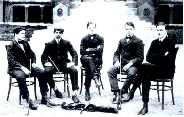"Nasseem (""Nat"") Mallouf, second from left, with the St. Paul's School Golf Team, 1900"